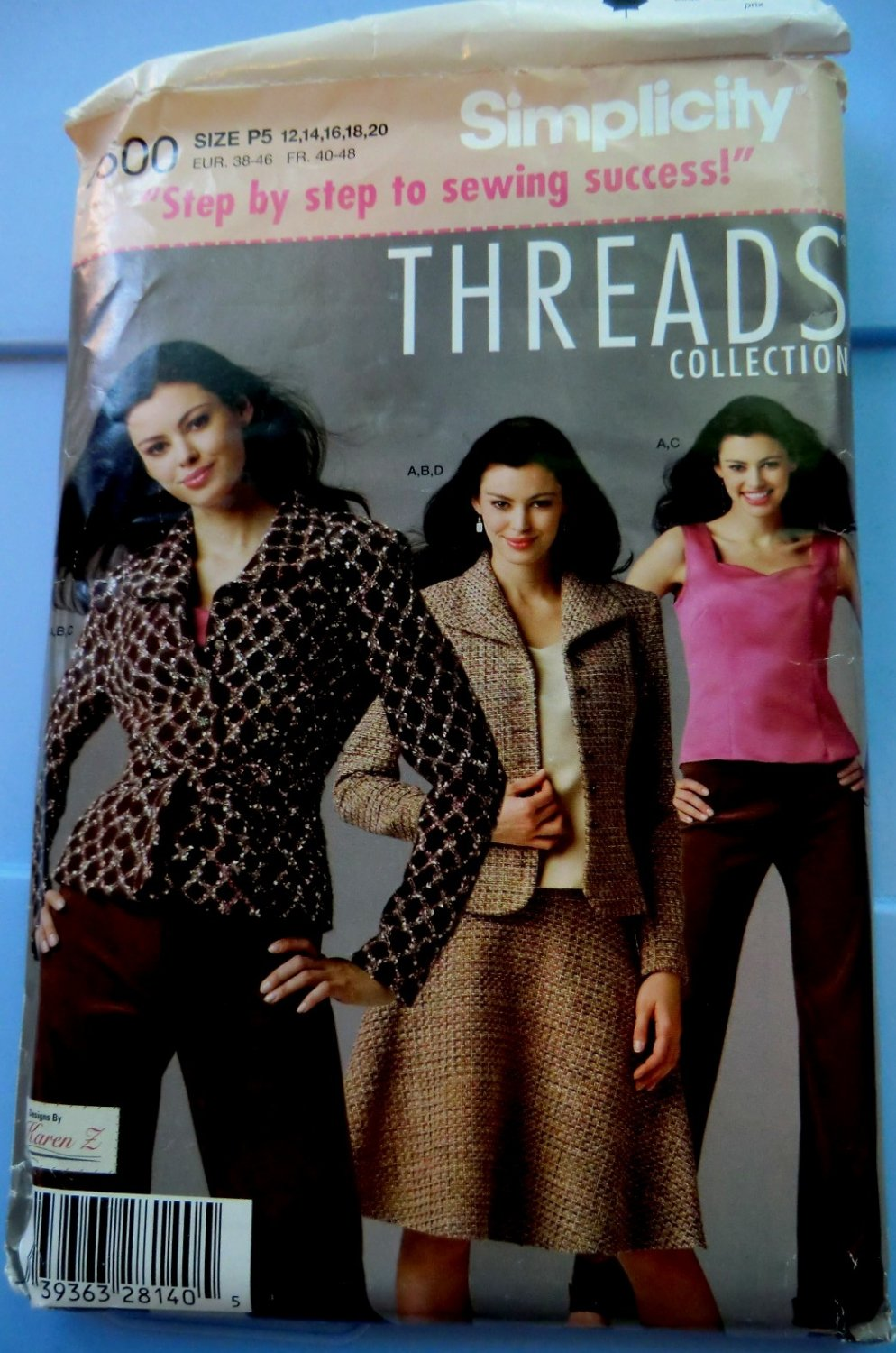 Simplicity Pattern # 4500 UNCUT Misses THREADS Wardrobe Skirt Pants Lined Jacket Size 12 14 16 18 20