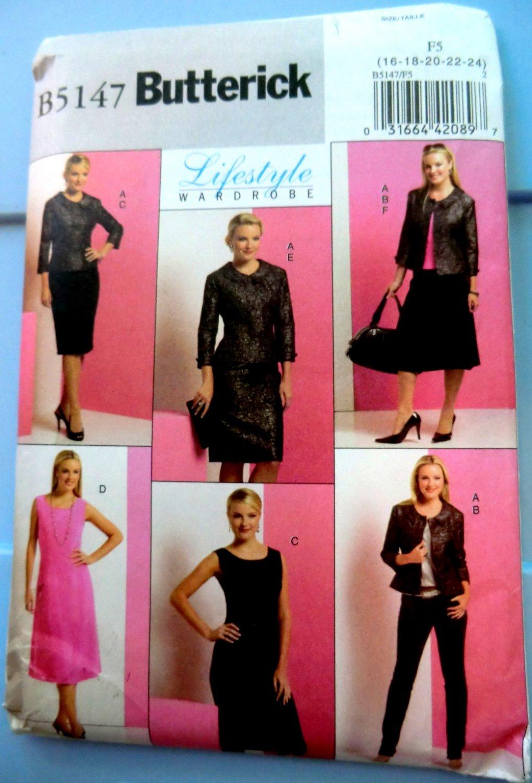 Butterick Pattern # 5147 UNCUT Misses Wardrobe Jacket  Top Dress Skirt Size 16 18 20 22 24