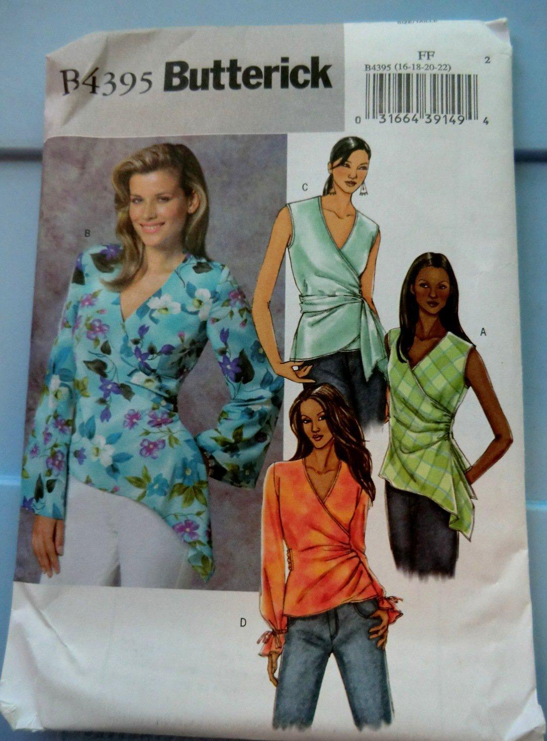 Butterick Pattern # 4395 UNCUT Misses Blouse Sleeve Variations Size 16 18 20 22