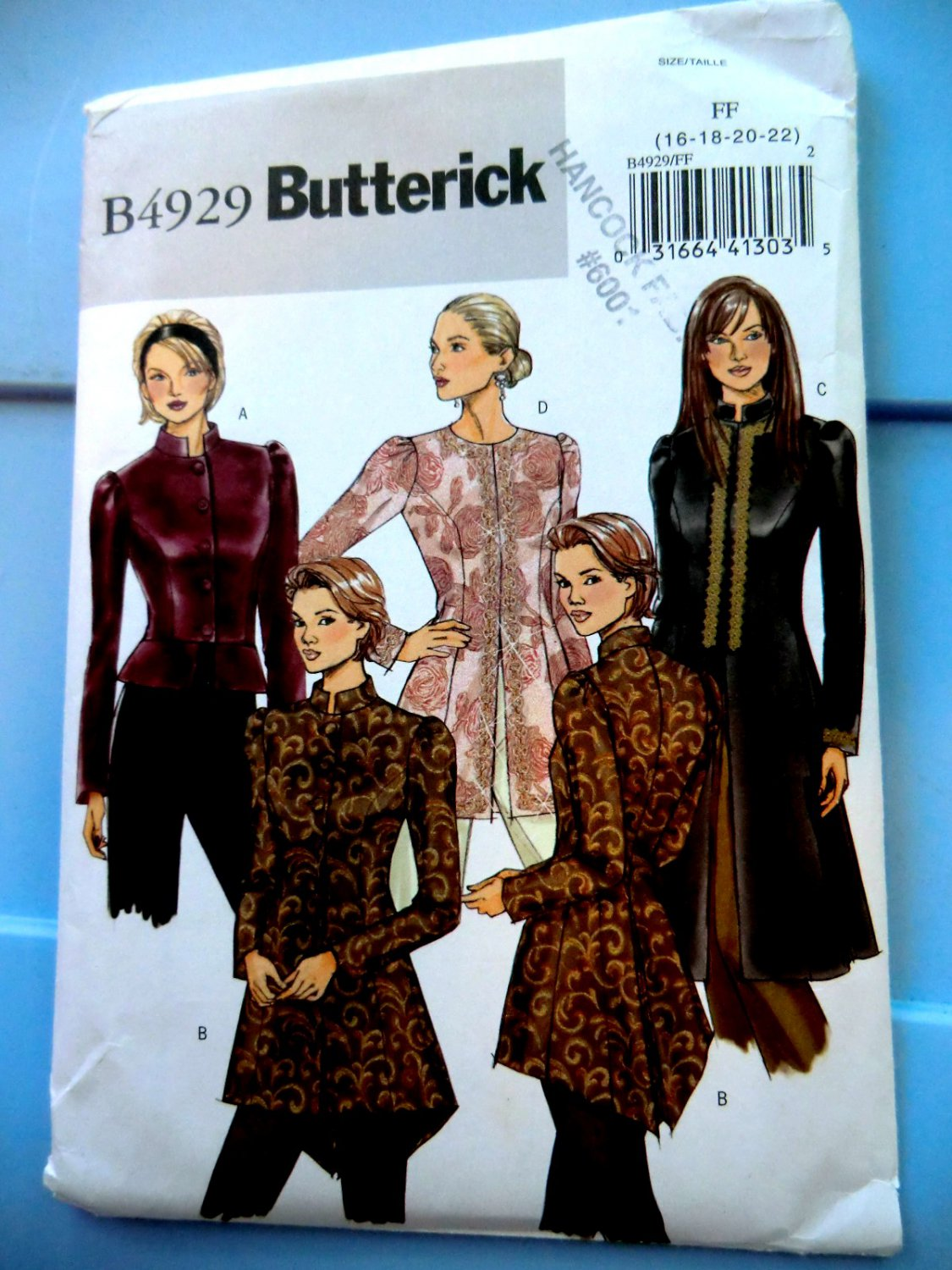 SOLD! Butterick Pattern # 4929 UNCUT Misses Jacket Size 16 18 20 22