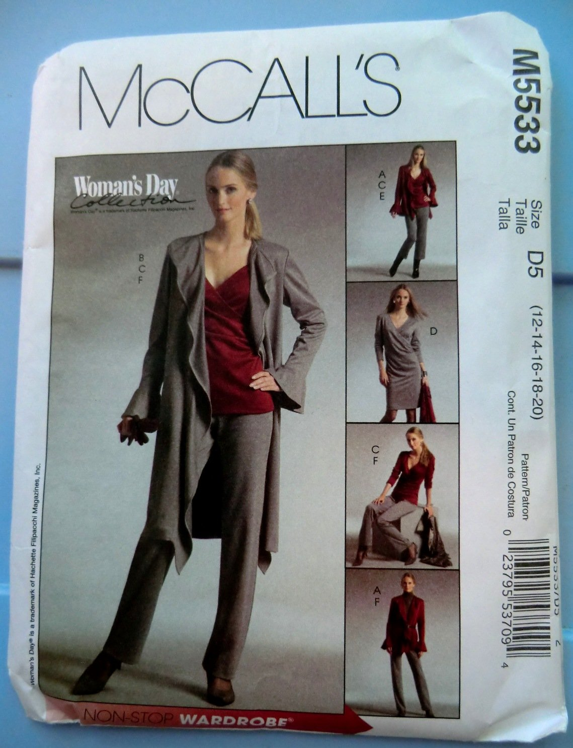 McCalls Pattern # 5533 UNCUT Misses STRETCH KNITS ONLY Jacket Top Dress Pants Size 12 14 16 18 20