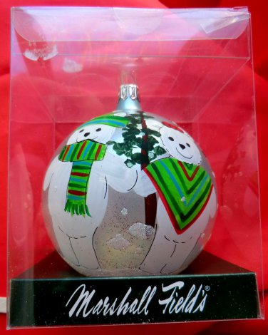 Marshall Field's 2005 Christmas Tree Ornament Glass Hand Painted Santa Bears