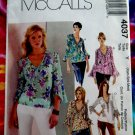 McCalls Pattern #4037 UNCUT Misses Blouse Sleeve Variations Size XS, Small  and Medium.
