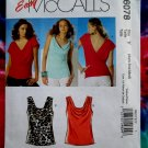 McCalls Pattern # 6078 UNCUT Misses Sleeveless Top Neckline STRETCH KNITS Size XS Small Medium