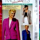 McCalls Pattern # 6172 UNCUT Misses Lined Jacket 3 Lengths Size 16 18 20 22