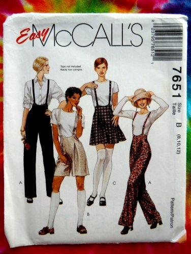 McCalls Pattern # 7651 UNCUT Misses Suspender Pants or Shorts Skirt Size 8 10 12