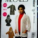 McCalls Pattern # 6802 UNCUT Misses Cardigan STRETCH KNITS Size 8 10 12 14 16