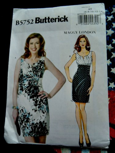 McCalls Pattern # 5752 UNCUT Misses Dress by Maggy London Size 6 8 10 12 14
