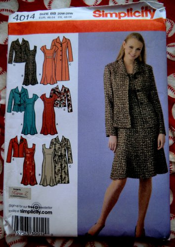 Simplicity Pattern # 4014 UNCUT Misses Dress ~ Long Sleeve Coat Jacket Size 20 22 24 26 28