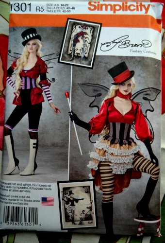 Simplicity Pattern # 1301 UNCUT Misses Steampunk Circus Victorian  Costume Size 14 16 18 20 22
