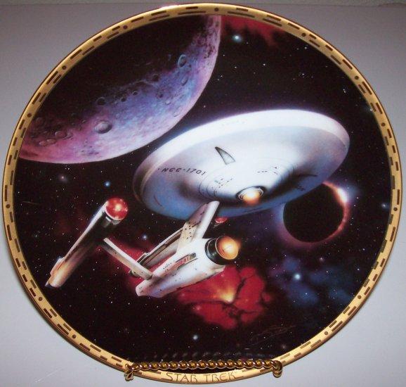 """Star Trek """"Voyagers"""" Hamilton Collection Plate """"USS Enterprise NCC-1701"""