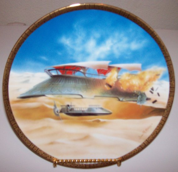"""Star Wars Space Vehicles """"Jabba's Sail Barge"""" 1997 Hamilton Collection Plate"""