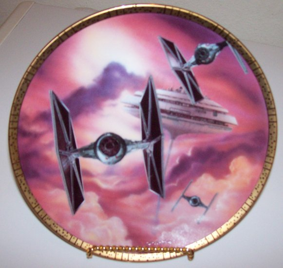"""Star Wars Space Vehicles """"Tie Fighters"""" 1995 Hamilton Collection Plate"""