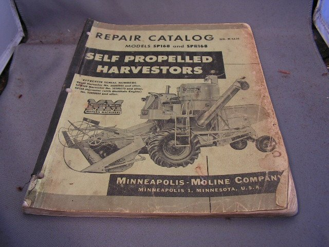Minneapolis-Moline Repair Catalog Models SP168 and SPR168 Combines.