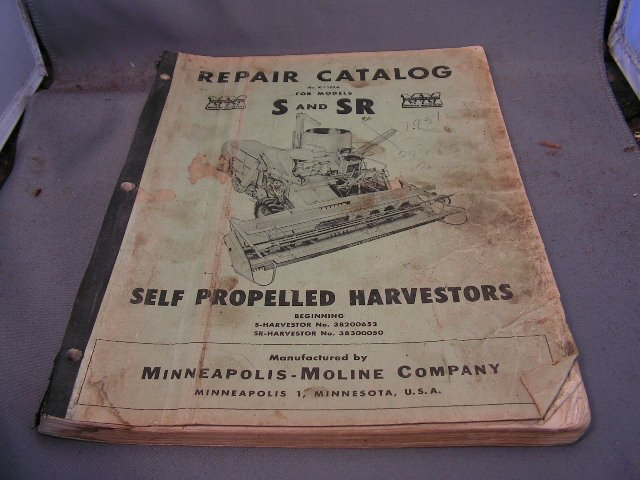 Minneapolis-Moline Repair Catalog Models S and R Combines.
