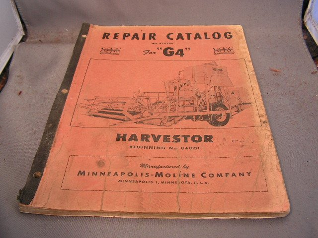 Minneapolis-Moline Repair Catalog Models G4 Combine.