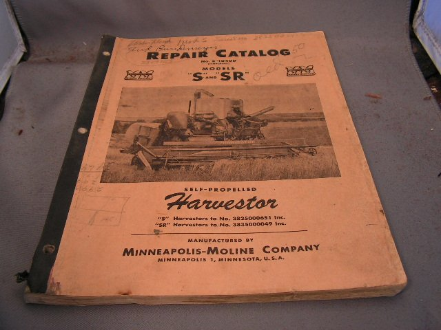 Minneapolis-Moline Repair Catalog Models S and SR Combines.