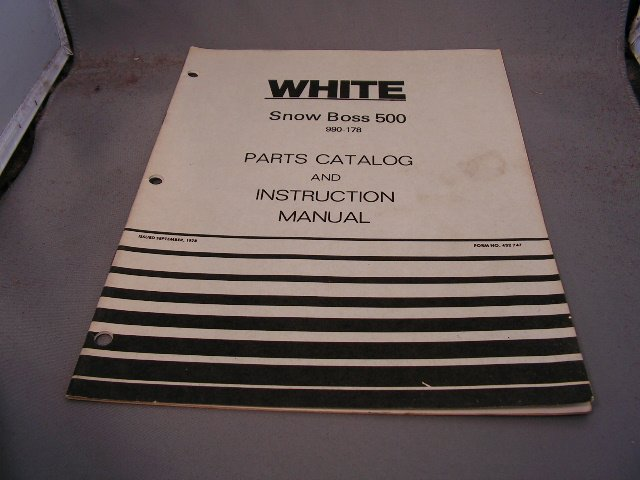 White Snow Boss 500 Parts Catalog and Instruction Manual.