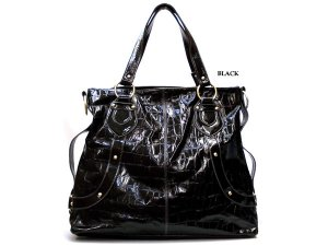 handbag-black faux croc