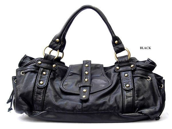 handbag-washed leather like hobo in black