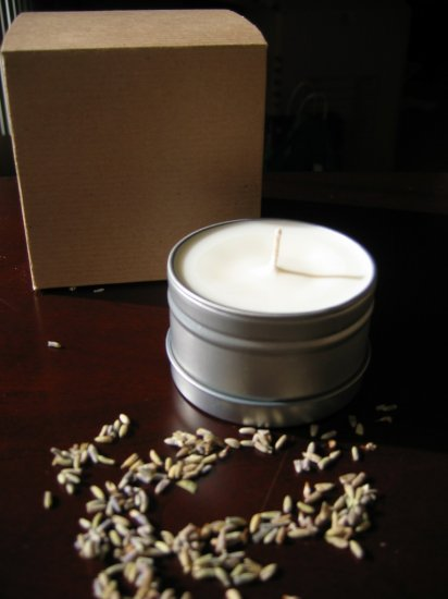 Soy Wax Candle 6 oz. Tin - Lavender Bergamot Essential Oils
