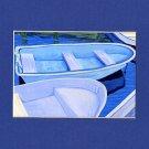 CAPE COD Blue Rowboats Matted Print, Skiffs, Seascape, Renee Rutana