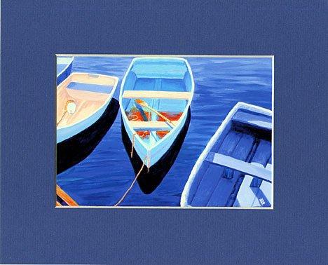 CAPE COD Rowboats, Matted Print, Skiffs Seascape Dinghy, Renee Rutana