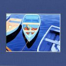 CAPE COD Rowboats, Matted Print, Skiffs Seascape Dinghy, Renee Rutana