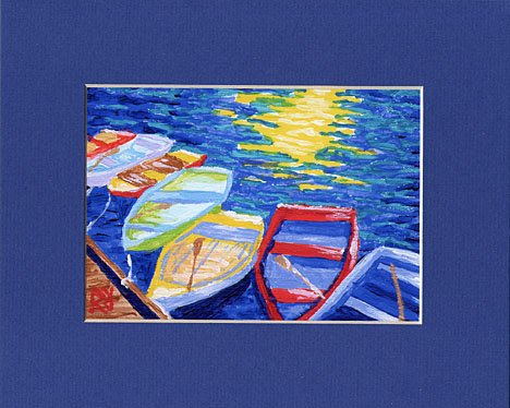 CAPE COD Rowboats, Matted Print, Skiff Seascape Dinghy, Renee Rutana