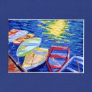 CAPE COD Rowboats, Matted Print, Skiff Seascape Dinghy, Renee Rutana