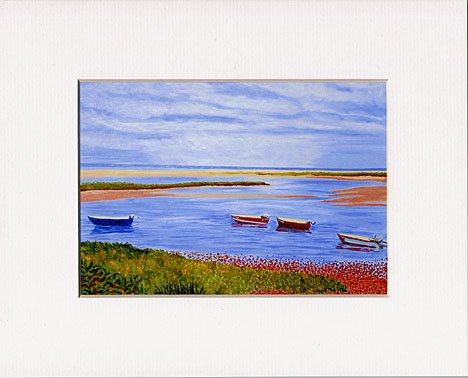 CAPE COD Seascape Boats on Beach Matted Print Renee Rutana