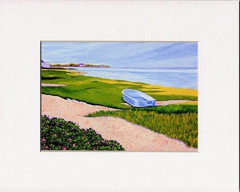 CAPE COD Sea CHATHAM Painting BOAT Matted Print, Renee Rutana
