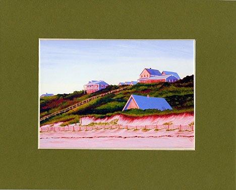 Cape Cod Seascape Truro Beach House Matted Print, Renee Rutana