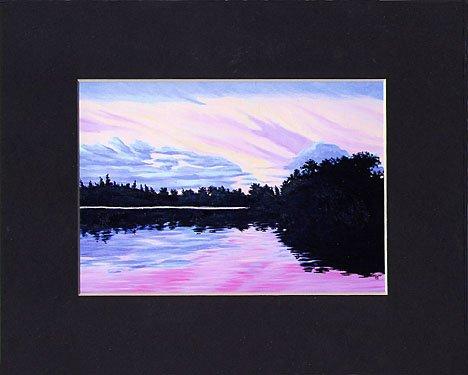 KEYWEST Florida SUNSET Matted Print, Pink Purple Sky, Renee Rutana