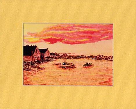 SEASCAPE SUNSET, Orange, Red & Grey Tones, Renee Rutana