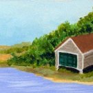 ACEO Original Cape Cod Boat House Painting, Renee Rutana