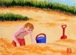 ACEO Original Cape Cod Orleans Beach Sand Painting, Renee Rutana