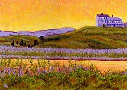 ACEO Print of Original Cape Truro House Dune Painting, Renee Rutana