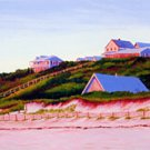 ACEO Print of Original Cape Truro Houses Dune Painting, Renee Rutana