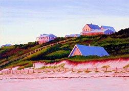 ACEO Print of Original Cape Truro Houses Dune Painting, Renee Rutana