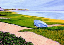ACEO Print of Original Cape Cod Boat Beach Painting, Renee Rutana