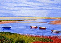 ACEO Print of Original Cape Cod Boats at Beach Painting, Renee Rutana