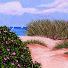ACEO Print of Original Cape Cod Dune & Beach Roses Painting