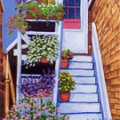 ACEO Print of Original Rockport Floral Stairs Painting, Renee Rutana