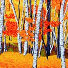 ACEO Print of Original Vermont FALL Birch Trees Painting, Renee Rutana