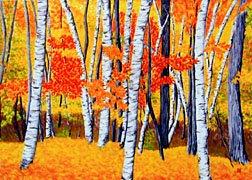 ACEO Print of Original Vermont FALL Birch Trees Painting, Renee Rutana