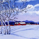 ACEO Print Vermont Winter Snow Birch Trees Barn Painting, Renee Rutana