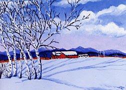 ACEO Print Vermont Winter Snow Birch Trees Barn Painting, Renee Rutana