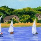 ACEO PRINT of Original Cape Cod, Sail Boat Painting, Beach Art, Renee Rutana