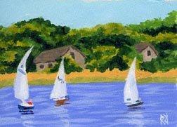 ACEO PRINT of Original Cape Cod, Sail Boat Painting, Beach Art, Renee Rutana